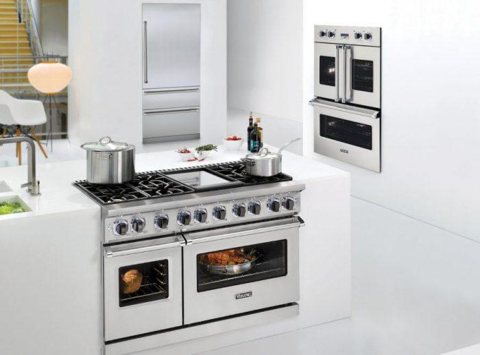 Kitchen full of viking appliances.